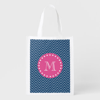 Hot Pink, Navy Blue Chevron | Your Monogram Reusable Grocery Bag