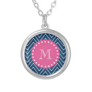 Hot Pink, Navy Blue Chevron | Your Monogram Silver Plated Necklace