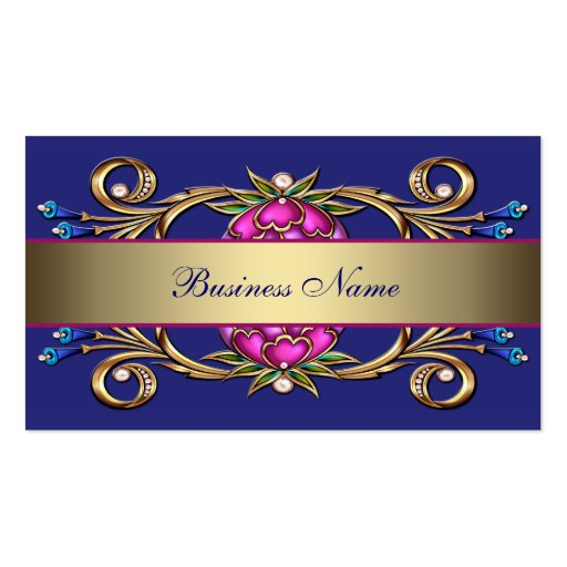 Hot Pink Navy Blue Gold Flower Swirl Business Card