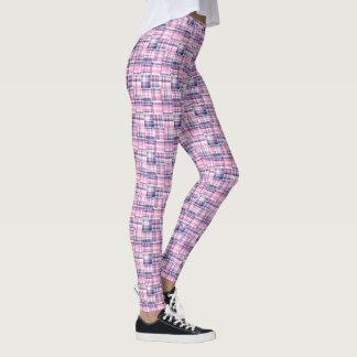 Hot Pink Navy Madras Patchwork Style Plaid Tartan Leggings