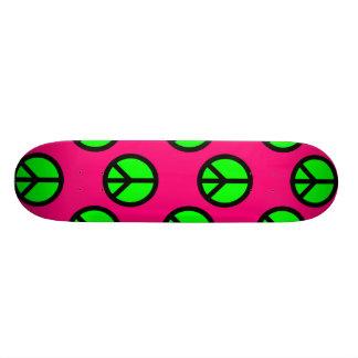 Hot Pink Neon Green Peace Sign Hippie Pattern 19.7 Cm Skateboard Deck