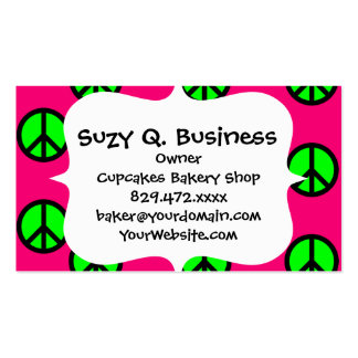 Hot Pink Neon Green Peace Sign Hippie Pattern Double-Sided Standard Business Cards (Pack Of 100)