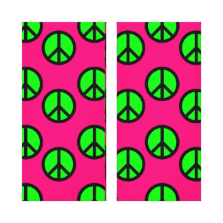 Hot Pink Neon Green Peace Sign Hippie Pattern Gallery Wrapped Canvas