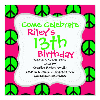 Hot Pink Neon Green Peace Sign Hippie Pattern 5.25x5.25 Square Paper Invitation Card