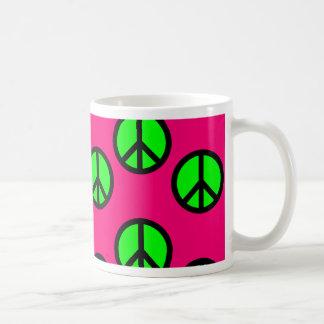 Hot Pink Neon Green Peace Sign Hippie Pattern Mug