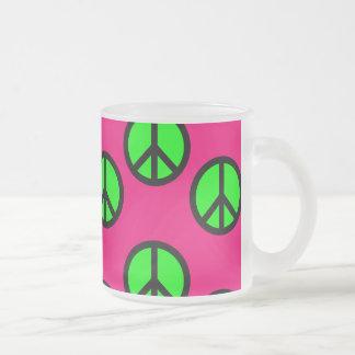 Hot Pink Neon Green Peace Sign Hippie Pattern Mugs