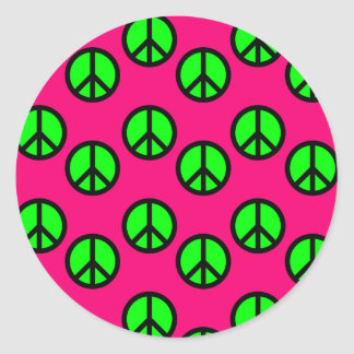 Hot Pink Neon Green Peace Sign Hippie Pattern Classic Round Sticker