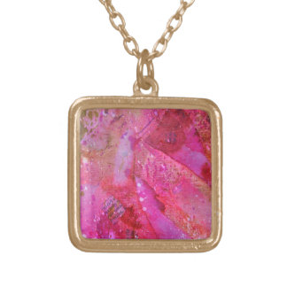 Hot pink newspaper necklace