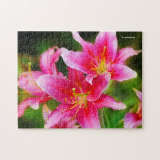 Hot Pink Olympic Torch Lilies Jigsaw Puzzle