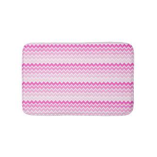 Hot Pink Ombre Chevron Zigzag Pattern Bath Mat