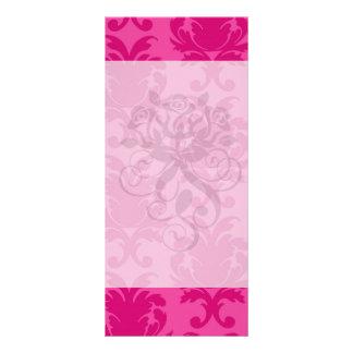 hot pink on pink chic damask pattern custom rack cards
