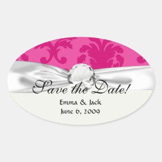 hot pink on pink chic damask pattern oval sticker