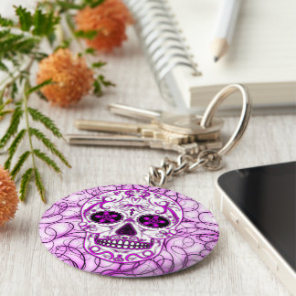 Hot Pink on Pink - Day of the Dead Sugar Skull Basic Round Button Key Ring