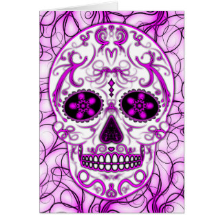 Hot Pink on Pink - Day of the Dead Sugar Skull Greeting Card