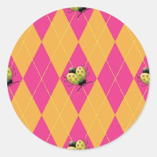 Hot Pink & Orange Argyle Ladybug Round Sticker