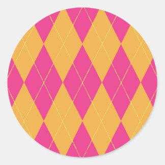 Hot Pink & Orange Argyle Round Sticker