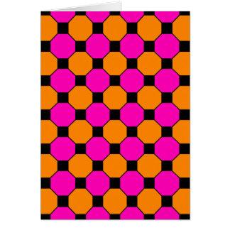 Hot Pink Orange Black Squares Hexagons Patterns Greeting Card