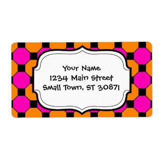 Hot Pink Orange Black Squares Hexagons Patterns Shipping Label