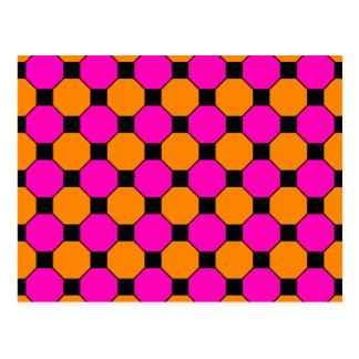 Hot Pink Orange Black Squares Hexagons Patterns Post Cards