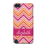 Hot Pink & Orange Chevron Pattern and Name