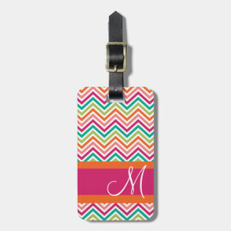 Hot Pink & Orange Chevron Pattern with Monogram Luggage Tag