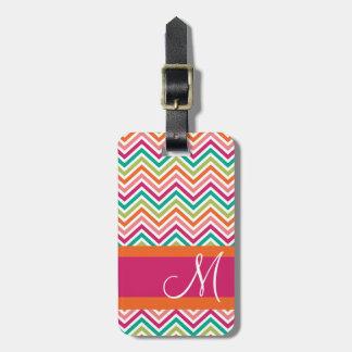 Hot Pink & Orange Chevron Pattern with Monogram Travel Bag Tag