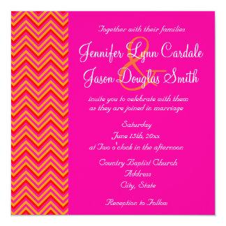 Hot Pink Orange Chevron Wedding Invitation