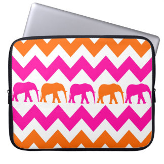 Hot Pink Orange Elephants Chevron Laptop Sleeve