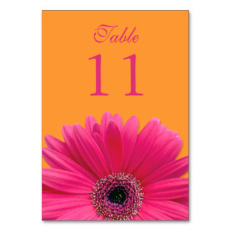 Hot Pink Orange Gerbera Daisy Wedding Table Card