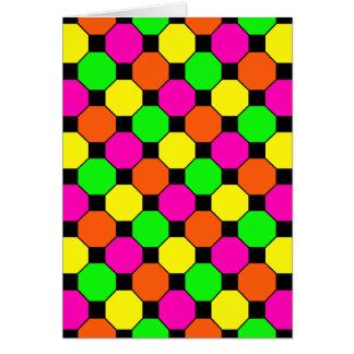 Hot Pink Orange Green Black Squares Hexagons Greeting Card