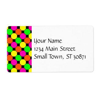 Hot Pink Orange Green Black Squares Hexagons Shipping Label
