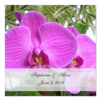 Hot Pink Orchid Wedding Invitation