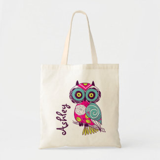 Hot Pink Ornate Floral Owl | Personalized Tote Bag