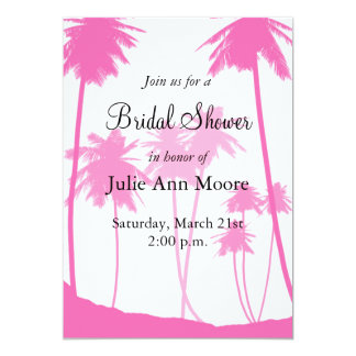 Hot Pink Palm Trees Tropical Bridal Shower Invitations