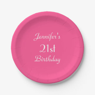 Hot Pink Paper Plates, 21st Birthday Party Paper Plate