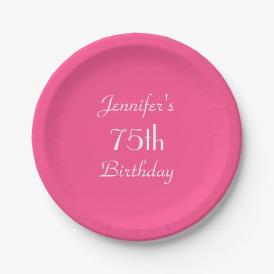 Hot Pink Paper Plates, 75th Birthday Party Paper
