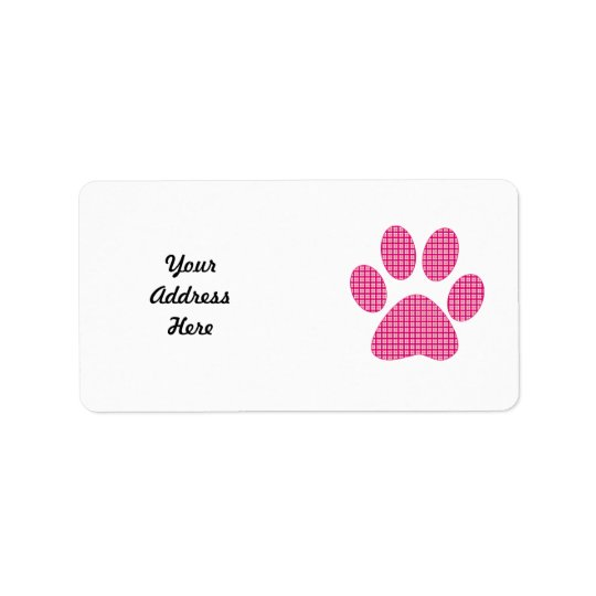 Hot pink Paw.png Address Label