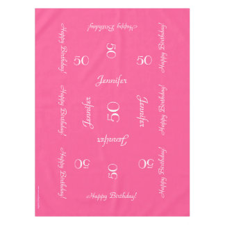 Hot Pink Personalized 50th Birthday Table Cloth Tablecloth