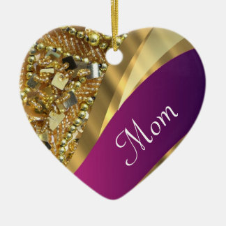 Hot pink personalized mom christmas ornament
