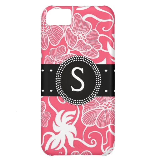 Hot Pink Personalized Tropical Flowery Pattern iPhone 5C Cover
