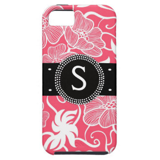 Hot Pink Personalized Tropical Flowery Pattern iPhone 5 Covers