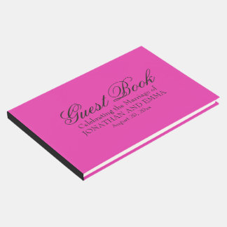 Hot Pink Personalized Wedding Sign In Book