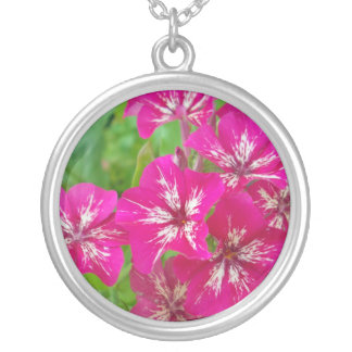 Hot Pink Phlox Round Pendant Necklace