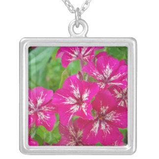 Hot Pink Phlox Square Pendant Necklace