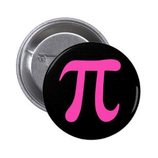 Hot pink pi symbol on black pinback button
