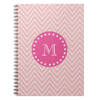 Hot Pink, Pink Chevron | Your Monogram Notebook