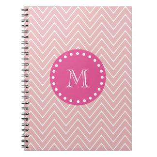 Hot Pink, Pink Chevron   Your Monogram Spiral Notebook