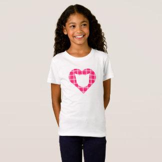 Hot Pink Plaid Cat-Heart Girls' T-Shirt