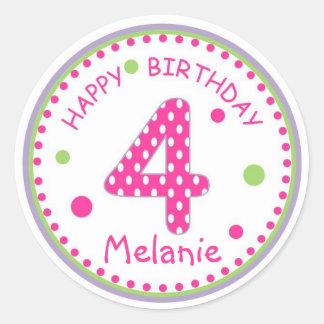 Hot Pink Polka Dot Happy Birthday Number 4 Classic Round Sticker