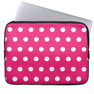 Hot Pink Polka Dot Laptop Sleeves